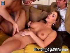 He would love to see a young stud satisfying her beautiful pussy while he watched