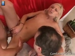 Cuckolding Les: he watched in silence as Kacey shoved the other man's tube steak down her throat
